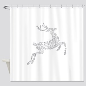 Filigree Silver Metallic Christmas Shower Curtain