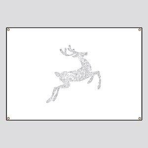 Filigree Silver Metallic Christmas Reindeer Banner