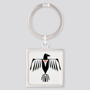 Native American Thunderbird Square Keychain