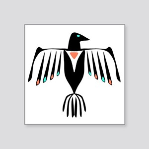 "Native American Thunderbird Square Sticker 3"" x 3"""