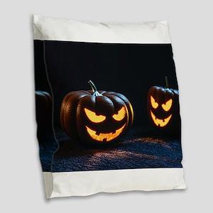 halloween pumpkins Burlap Throw Pillow