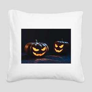 halloween pumpkins Square Canvas Pillow