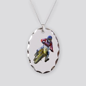 Motocross Driver Necklace Oval Charm