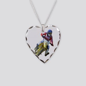 Motocross Driver Necklace Heart Charm