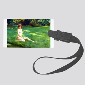 A Naked on the Lawn by Stewart Large Luggage Tag