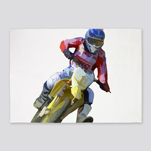 Motocross Driver 5'x7'Area Rug