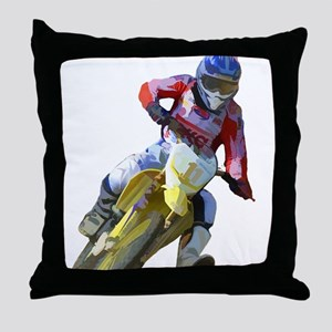 Motocross Driver Throw Pillow