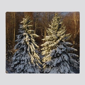 Snow Covered Pine Trees Throw Blanket