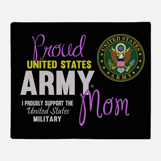 Army Mom Pink Seal Throw Blanket