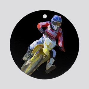 Motocross Driver on Black Round Ornament