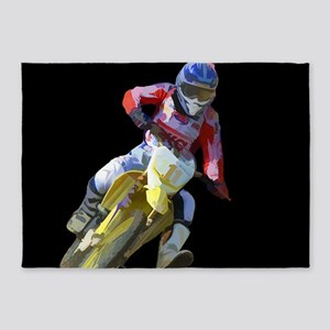 Motocross Driver on Black 5'x7'Area Rug