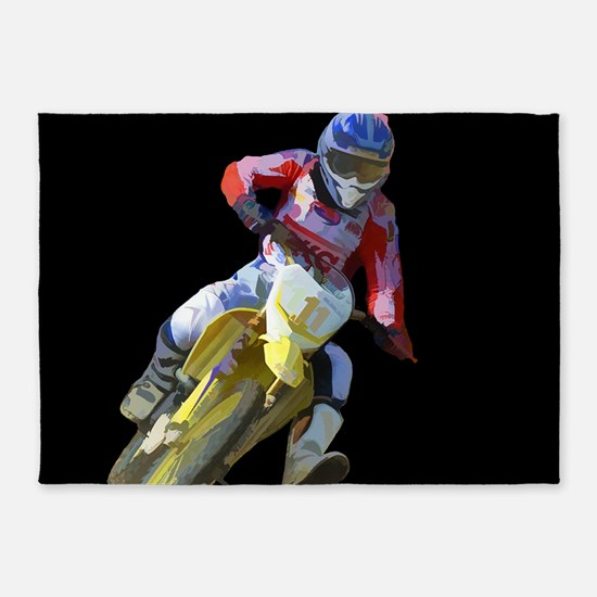 Motocross Driver on Black 5'x7'Area Rug
