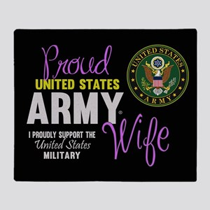 Proud Army Wife Seal Throw Blanket