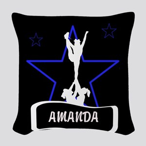 Black and Blue Cheerleader Woven Throw Pillow