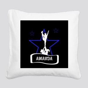 Black and Blue Cheerleader Square Canvas Pillow