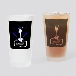 Black and Blue Cheerleader Drinking Glass