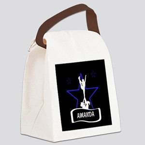 Black and Blue Cheerleader Canvas Lunch Bag