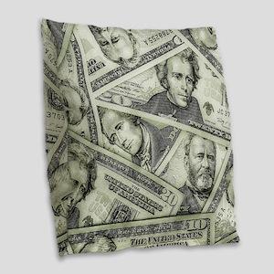 Money Burlap Throw Pillow