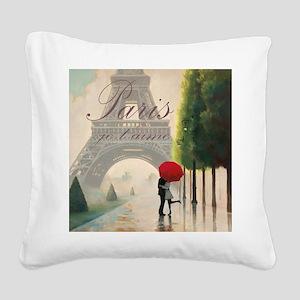 Je T'aime Paris Square Canvas Pillow