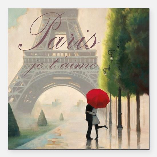"""Je T'aime Paris Square Car Magnet 3"""" x 3"""""""