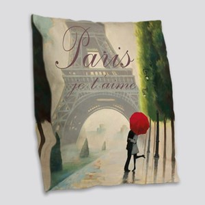 Je T'aime Paris Burlap Throw Pillow