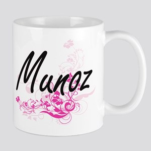 Munoz surname artistic design with Flowers Mugs