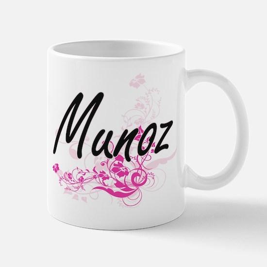 Munoz surname artistic design with Flowers Mugs