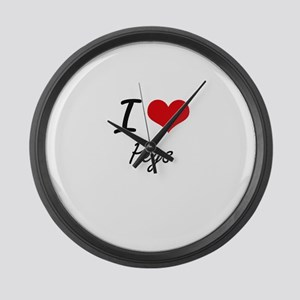 I Love Pegs Large Wall Clock