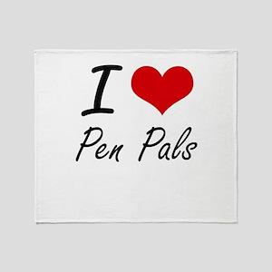 I Love Pen Pals Throw Blanket