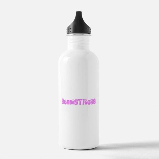 Seamstress Pink Flower Water Bottle
