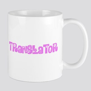 Translator Pink Flower Design Mugs
