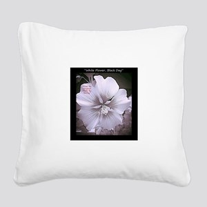 Flowers-White-Black-Bold Square Canvas Pillow