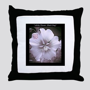 Flowers-White-Black-Bold Throw Pillow