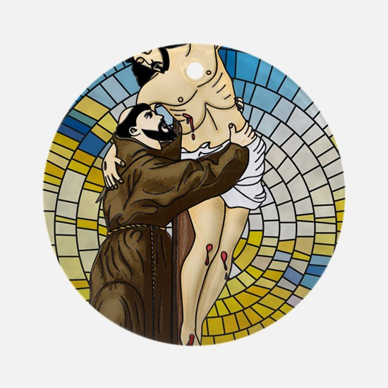 St Francis Embraces Jesus 2 Round Ornament