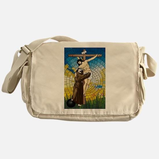 St Francis Embraces Jesus 2 Messenger Bag