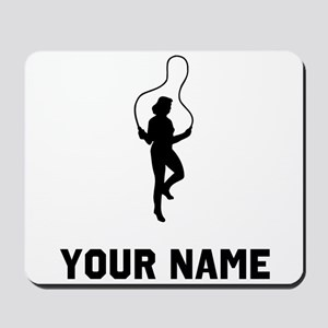 Woman Jumping Rope Silhouette Mousepad