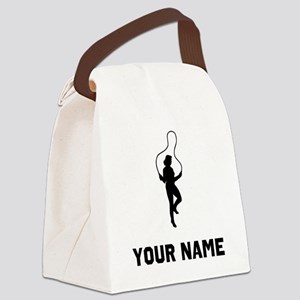 Woman Jumping Rope Silhouette Canvas Lunch Bag