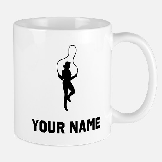 Woman Jumping Rope Silhouette Mugs