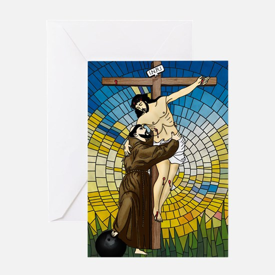 St Francis Embraces Jesus 2 Greeting Cards