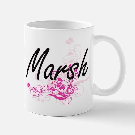 Marsh surname artistic design with Flowers Mugs