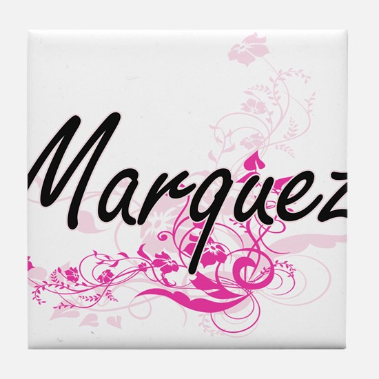Marquez surname artistic design with Tile Coaster