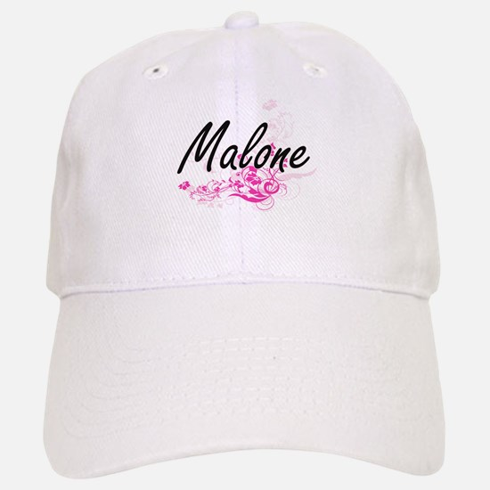 Malone surname artistic design with Flowers Baseball Baseball Cap