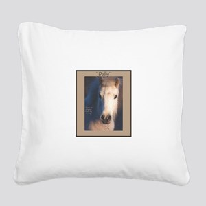 Horse-White-Pony-Wild Square Canvas Pillow