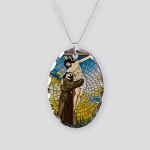 St Francis Embraces Jesus 2 Necklace Oval Charm