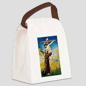 St Francis Embraces Jesus 2 Canvas Lunch Bag