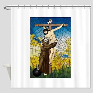 St Francis Embraces Jesus 2 Shower Curtain