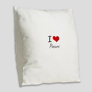 I Love Pincers Burlap Throw Pillow