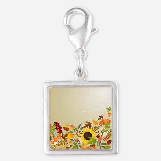 Golden Thanksgiving Silver Square Charm
