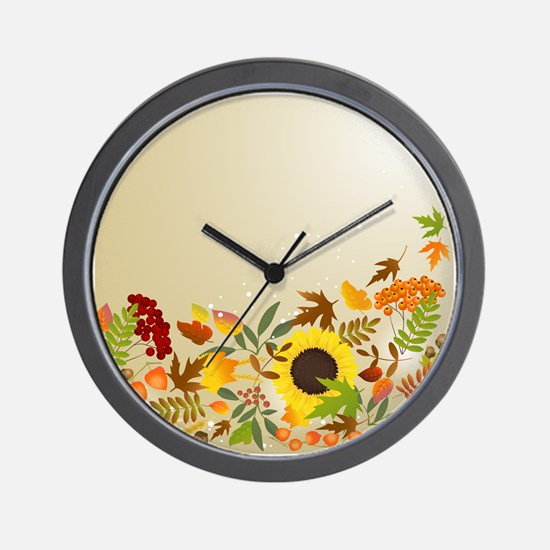 Golden Thanksgiving Wall Clock