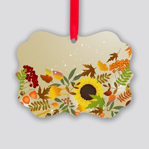 Golden Thanksgiving Picture Ornament
